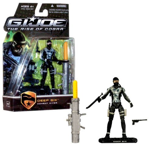 Hasbro Year 2009 G.I. Joe Movie Series  The Rise Of Cobra  4 Inch Tall Action Figure - Combat Diver Deep Six With Facemask, Airhose, Backpack With 2 Removable Gray Tanks, Flippers, Harpoon Gun, Knife, Pistol, Missile Launcher And Display Stand