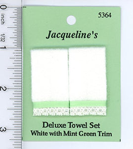 Dollhouse Miniature 1:12 Two White Fuzzy Bath Towels W/Lace Trim And Light Green Ribbon