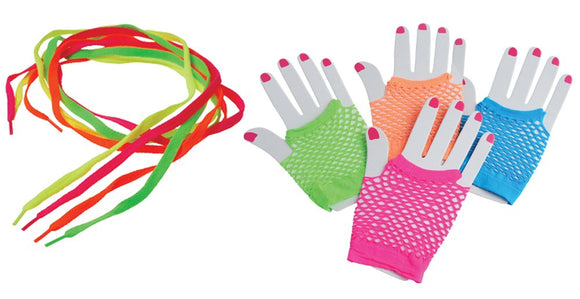 1980S Neon Rock Star Toy Party Favor Supplies 24 Piece Set For 12 Bundle Shoelaces Mesh Gloves
