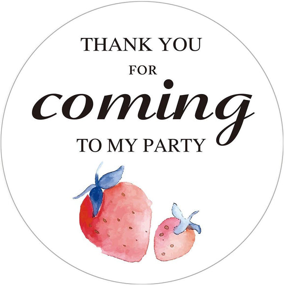 Magjuche Strawberry Stickers, Watercolor Strawberry Fruit Birthday Party Favors Labels, 2 Inch,
