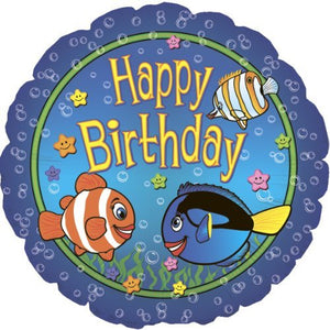 Happy Birthday Big Fish Balloon (18 Inch Mylar) Pkg/1
