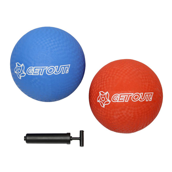 Get Out! Rubber Play Ball  Rubber Kickball 10 Inch W/ Hand Pump Inflator, Playground Balls For Kids