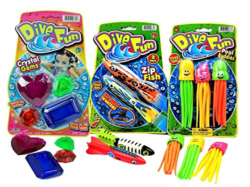 Pool Toys 9 Piece Bundle By Ja-Ru | 2Dive Fun Outdoor Pool Toys Includes 3 Water Toy Buddies 2 Pool Zip Fish Torpedo 4 Cristal Gems Pool Party Water Fun Toys | C8
