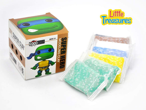 Little Treasures Green Turtle Ninja Clay Modeling And Sculpting Diy Play-Set  Create Your Favorite Cartoon Hero Characters With Molding Play-Dough Kit  A Fun Arts And Craft Kids Artist Toy Project