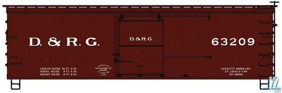 36' Double-Sheathed Wood Boxcar, Steel Roof, Ends, Straight Underframe - Kit -- Denver & Rio Grande 63209 (Boxcar Red)