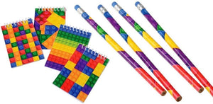 Building Block Themed Mini Notebook & Pencil Set (; 12 Pcs Each) Brick Building Blocks Mini Pocket Memo Pads & Long Pencils Children Birthdays, Goody Bags, School Prize Boxes, Party Favor