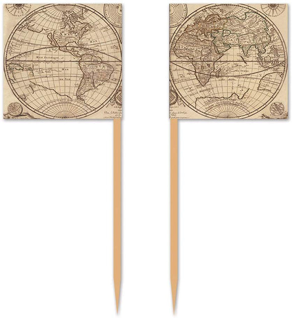 Around The World Party - Cupcake Picks 50 Pcs - Party Supplies