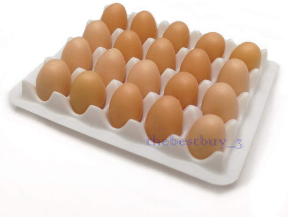 20 Chicken Eggs Dollhouse Miniature Natural Color On Tray Set