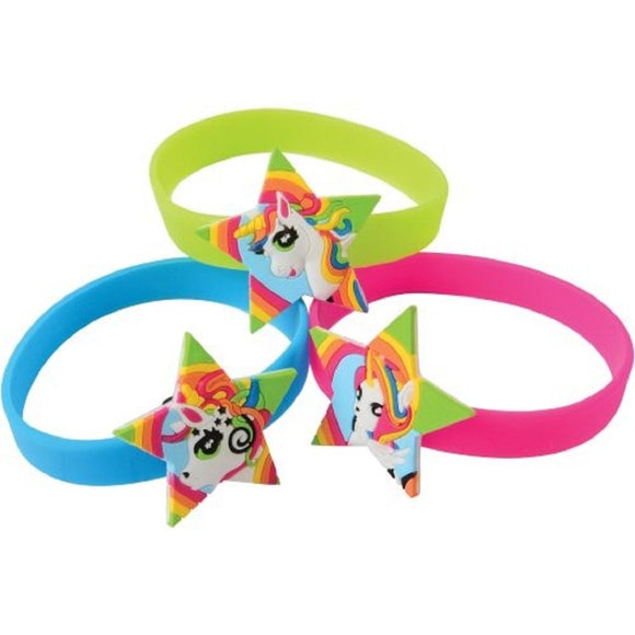 Unicorn Rubber Bracelets Multi-Color Party Favors -