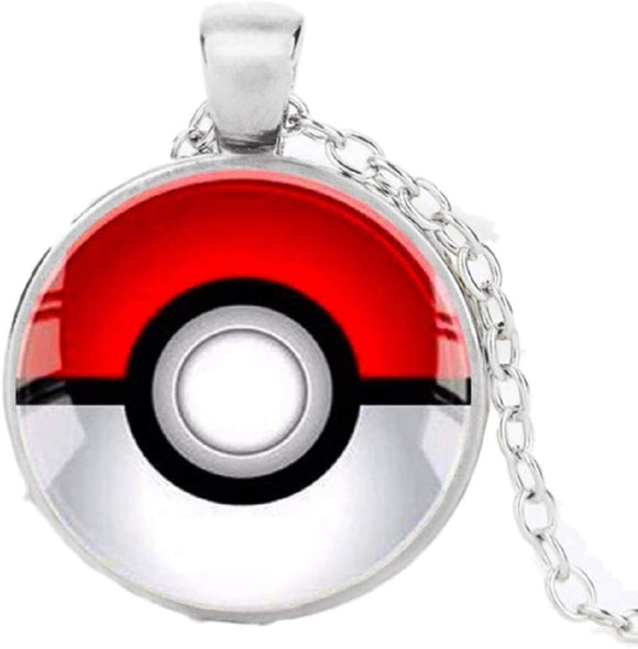Pokemon Pokeball Glass Dome Pendant Necklace