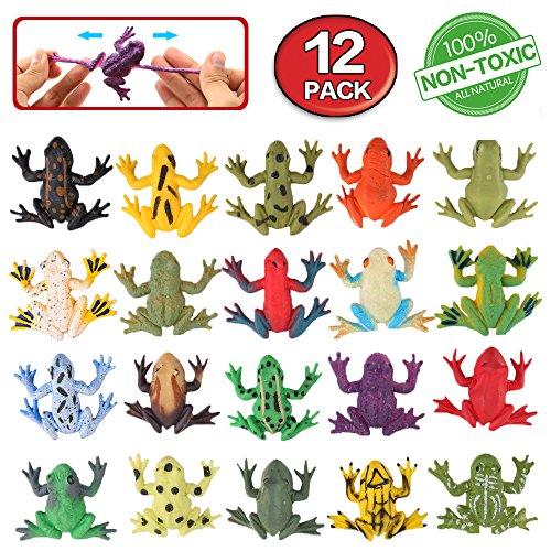 Frog Toys,Mini Rubber Frog Sets,Food Grade Material Tpr Super Stretches,With Gift Bag And Learning Study Card,Valefortoy Realistic Frog Figure Squishy Toys For Boy