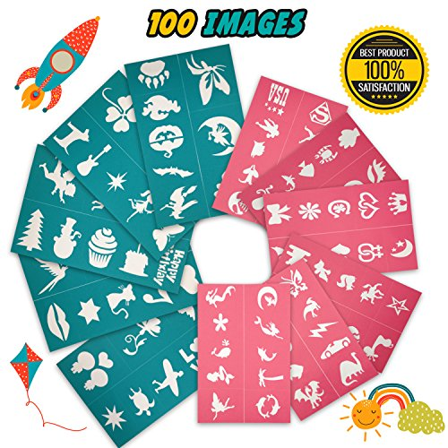 Face Paint Stencils Kit 100 Pieces, Large Medium Small Reusable, Thick Body Painting Stencil - Great For Birthdays, Fundraisers, Halloween, Christmas Party