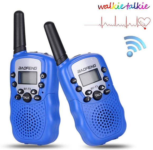 Walkie Talkies For Kids Bf-T3 Children Outdoor Toys 22 Channels 3 Miles Range (1 Pair Blue)
