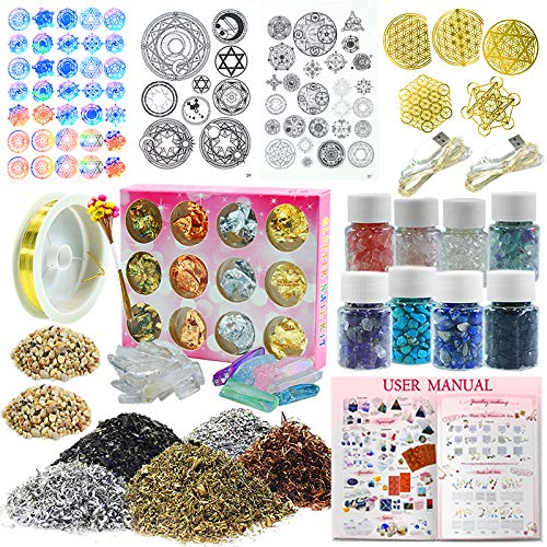 Funshowcase Resin Art Pyramid Making Supplies Kits Energy Generator Symbol, Mineral Stone, Metal, Wires, Filler, Led And More