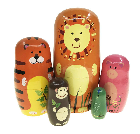 Arsdoll Cutie Cartoon Orange Lion Tiger Pig Monkey Bird Animal Nesting Doll Wooden Matryoshka Russian Doll Handmade Stacking Toy Set 5 Pieces For Kids Girl Mother'S Day Gifts Home Decoration