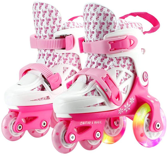 Oneke Roller Skates For Kids Boys Girls Adjustable Rollerblades Outdoor Skating Shoes For Beginners Advanced Safe And Durable Rollerblades (White Pink, Us Little Kid 11M-12.5M)
