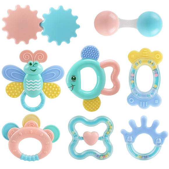 Baby Toys Rattle Teething Toys 8 Pcs, Baby Newborn Gift Set Toys For 0 3 6 9 12 18 24 Month Newborn Babies Infant