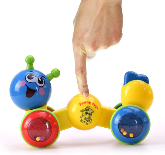 Konig Kids Push And Go Funny Worm Toy With Rattle For Toddlers, Blue