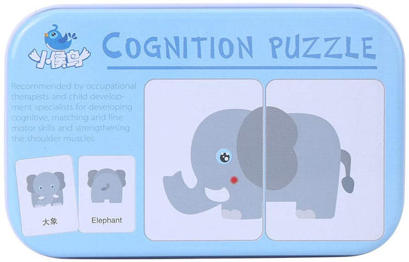 32Pcs Flash Card Puzzle Cognitive Learning Early Education Card Learning Toys Vehicle/Animal/Fruit/Living Goods Learning Training Cards Baby Educational Toy With Iron Box(Animals)