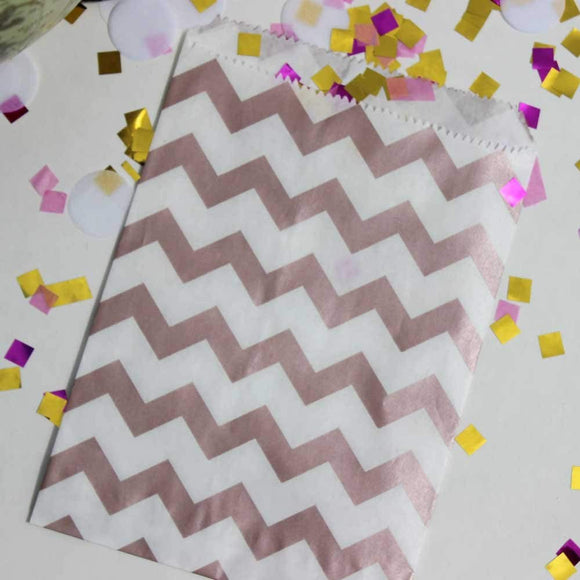 Rose Gold And White Chevron Stripe Party Favor Bags With Stickers, 5.5