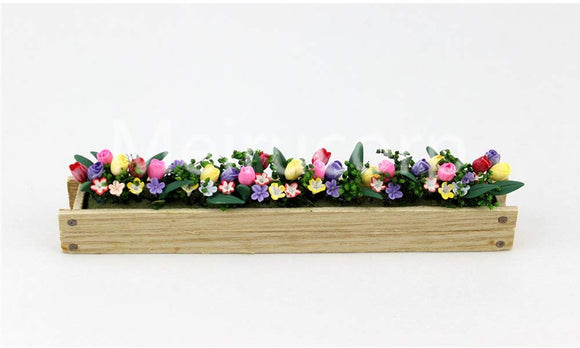 1/12 Scale Dollhouse Accessories Miniature Decoration Plant Fence Clay Yellow Pink Flowerbed 12043