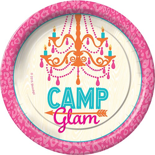 Camp Glam Camping Dessert Plates Party Tableware Supplies Decorations