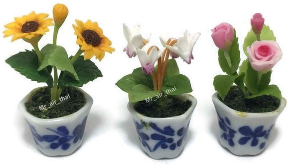 3Pc Miniature Flower Clay Dollhouse Fairy Garden Mini Plant Trees Ceramic Paint Furniture Bundles Artificial Flowers Tiny Orchid #085