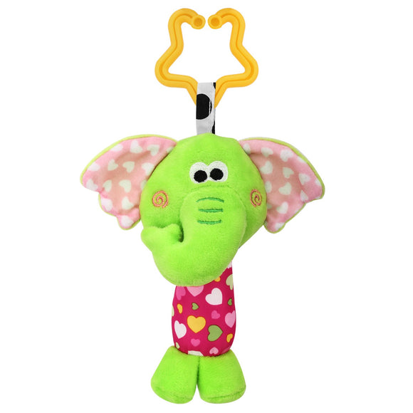 Zooawa Baby Hanging Rattle Toy, Soft Stuffed Animals Handbells Stroller Crib Car Seat Hanging Bell For Newborn Children Infant, Elephant