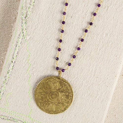 Natural Life Purple Metal Medallion Necklace