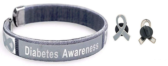 Adult Gray Diabetes Awareness Bangle Bracelet & Enamel Awareness Pin