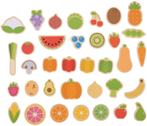 Bigjigs Toys Wooden Fruit & Veg Magnets (35 Piece), Multicolored