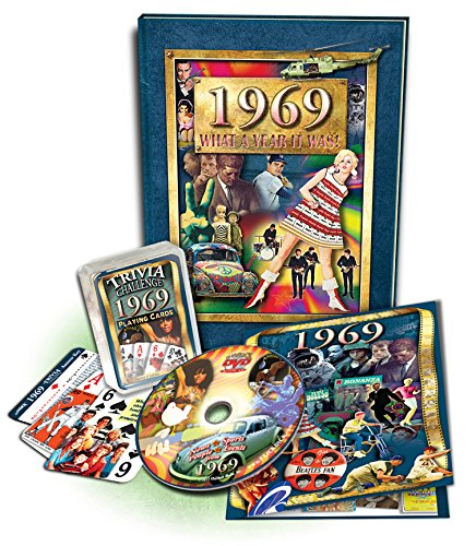 50Th Birthday Gift Set: 1969 Flickback Book, Dvd & Trivia Playing Cards