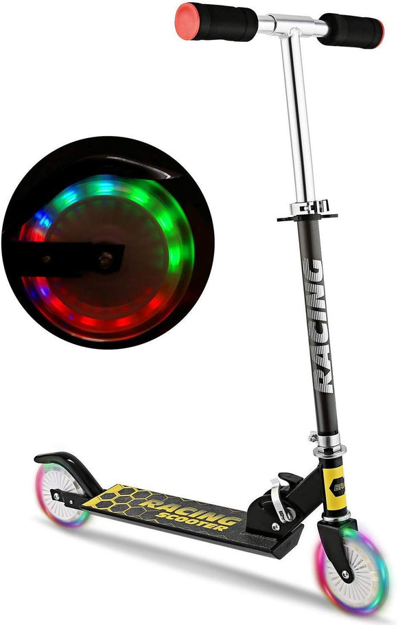 Peatao Scooter For Kids With Led Light Up Wheels, Adjustable Height Kick Scooters For Boys And Girls, Rear Fender Break|5Lb Lightweight Folding Kids Scooter, 110Lb Weight Capacity (Us Stock) (Black)