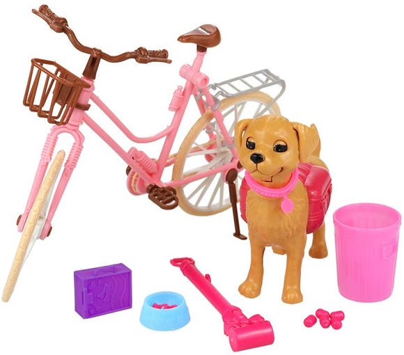 Barwa Pink Doll Bicycle And Dog Puppy Pet With Puppies Rotatable Wheels