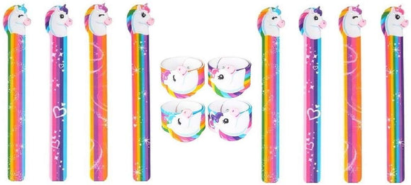 Novelty Treasures Magical Unicorn Shaped Slap Bracelets  Birthday Party Goody Bag Toy