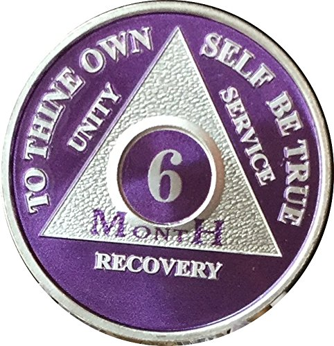 6 Month Purple Silver Plated Aa Medallion Chip