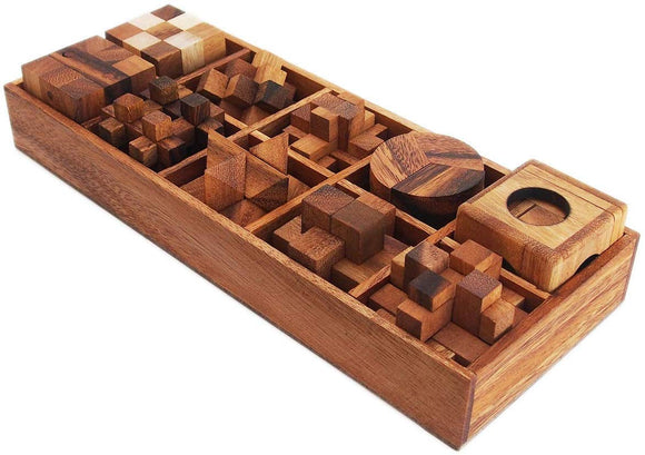 Cmstar 10 Of 3D Wood Puzzles Brain Teasers Game In Wooden Box Set