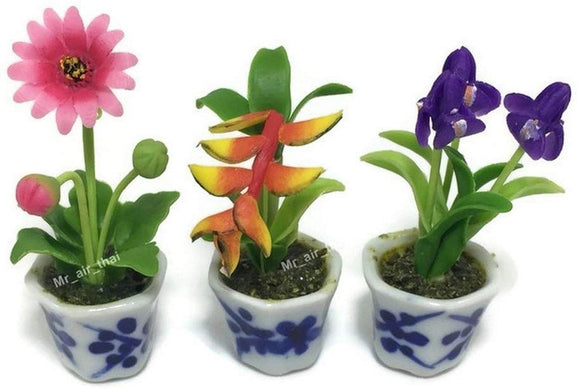 3Pc Miniature Flower Clay Dollhouse Fairy Garden Mini Plant Trees Ceramic Paint Furniture Bundles Artificial Flowers Tiny Orchid #088