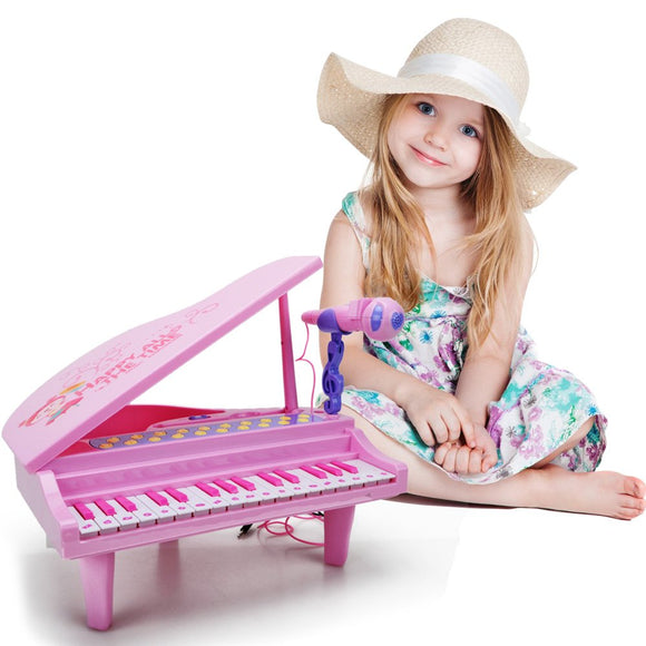Hanmun Kids Electronic Piano Keyboard Toy - Multi Function 32 Keys Light And Musical Instruments With Microphone Mp3 Record Sing Musical Toy For Kids Toddlers,Pink