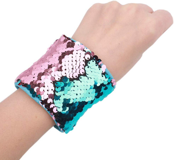 Love My Angel Mermaid Reversible Sequins Bracelet Two-Color Decorative Reversible Magic Wristband (Aquamarine&Pink)