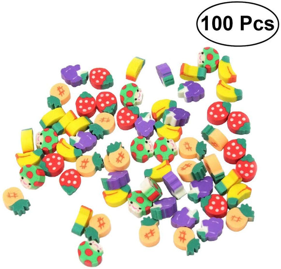 Toymytoy Cute Fruit Pencil Erasers Assorted Puzzle Erasers Stationery Gift Toy For Kids Children,100Pcs(Random Styles)