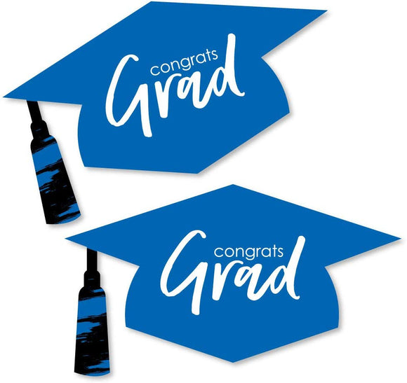 Blue Grad - Best Is Yet To Come - Graduation Hat Decorations Diy Royal Blue Graduation Large Party Essentials - 20 Count