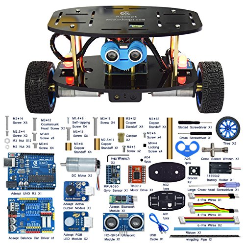 Adeept 2-Wheel Self-Balancing Upright Car Robot Kit For Arduino Uno R3, Mpu6050 Accelerometer Gyroscope Sensor + Tb6612 Motor Driver, Obstacle Avoidance + Android App Remote Control, Robot Starter Kit