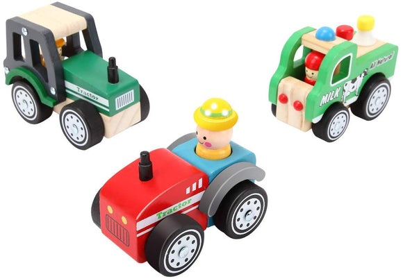 Kids Toyland Pre-Kindergarten Toys Farm Vehicles For Kids Wood Play Sets Green Tractor+Milk Car+Red Tractor(3 Wooden Car Models)