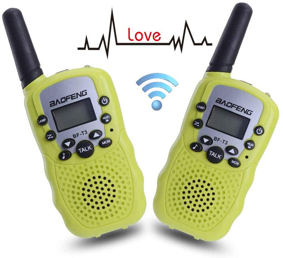 Walkie Talkies For Kids Bf-T3 Children Outdoor Toys 22 Channels 3 Miles Range (1 Pair Green)