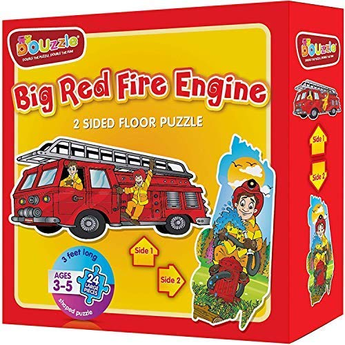 Big Red Fire Engine (Firetruck + Campfire) 2 Sided Floor Puzzle For Kids Ages 3-5 (24 Extra Large Pieces, 3 Feet Long, Sturdy Cardboard, Fire Truck Shaped). Birthday Gift For Boys And Girls.
