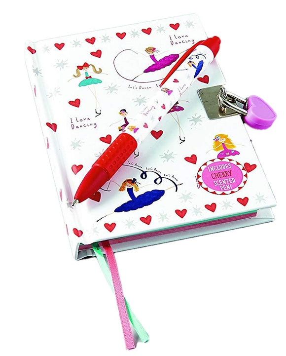Floss & Rock Ballet Lockable Diary With Snifty Scented Pen Cherry Scent