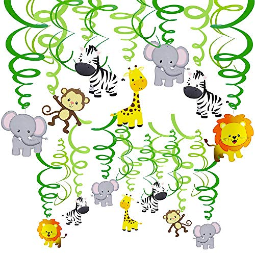 Luckkyy 30Pcs Animals Forest Hanging Swirl Decorations,Foil Spiral Swirls Banner Bunting Garland Streamer Baby Room