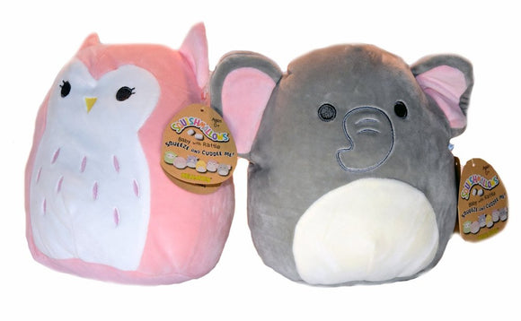 Squishmallows Baby Stuffed Animal Toy With Rattle -8 Inch Emma The Baby Elephant And Olive The Baby Owl