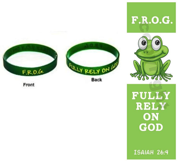 Christian Book And Toys 10 Fully Rely On God F.R.O.G. Silicone Bracelets With Frog Bookmarks